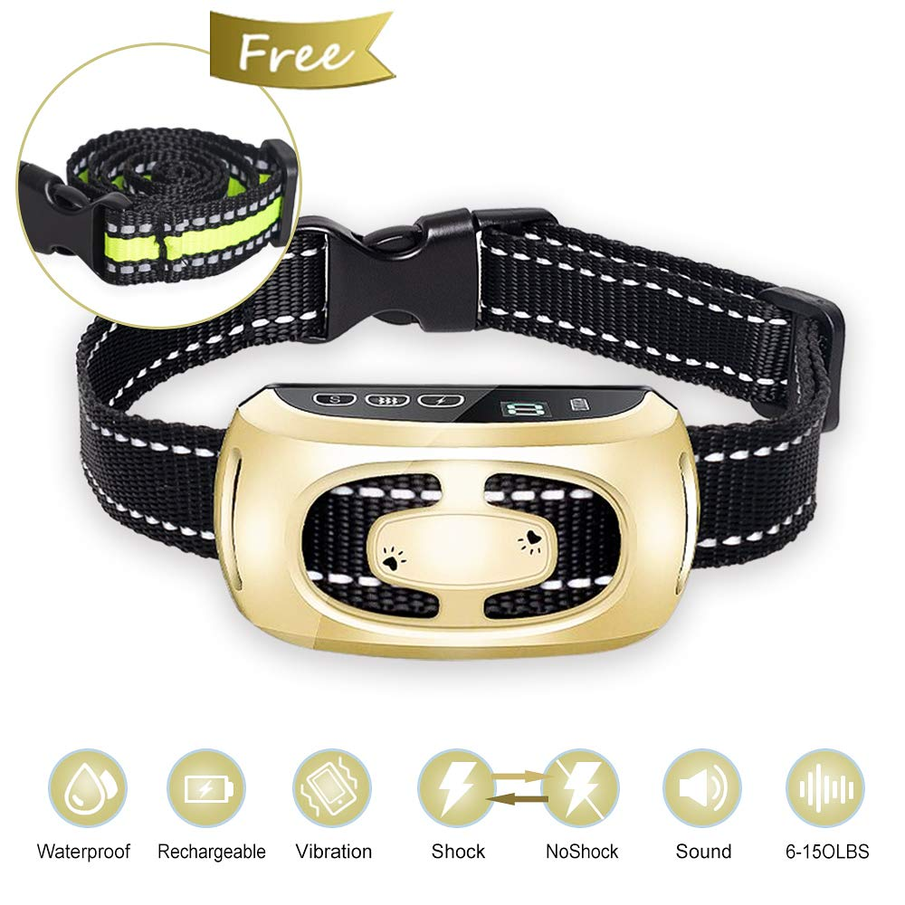 PiAEK Dog Bark Collar for Large Medium Small Dogs,2019 Newest Rechargeable Stop Barking Waterproof Anti Barking Dog Collar with 9 Adjustable Sensitivity and Intensity Levels with LED Screen