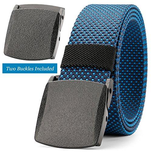 JASGOOD Men Belt Blue Belt Golf Belt Nylon Belt Outdoor Hiking Belt Unisex Belt Tactical Belt Big and Tall Belt Big Size Belt with Standby Plastic Nickel Free Buckle Up to 48