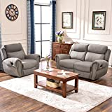 Harper&Bright Designs Recliner Chairs Fabric Recliner Loveseat Recliner Sofa Sets for Living Room (Chair & Loveseat, Taupe Gray) Review