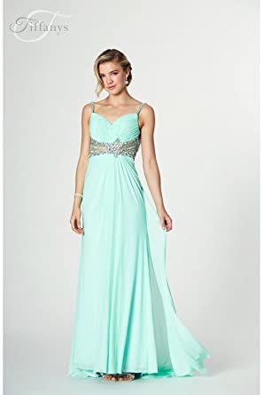 Tiffanys Illusion Prom Mint Harriet long chiffon Prom Dress UK 0 (US 000)