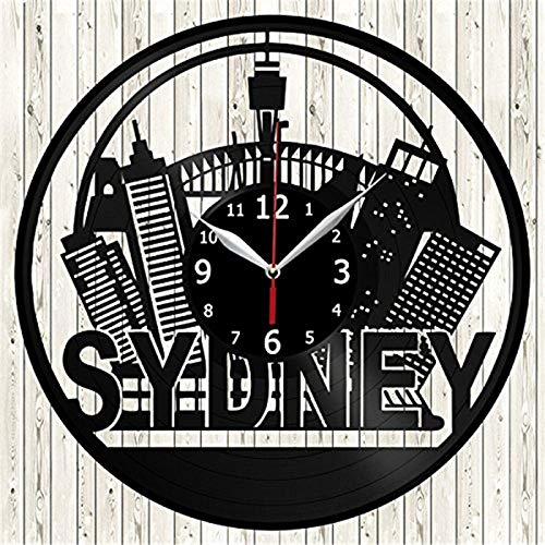 Sydney Vinyl Record Wall Clock Modern Home Decor Wall Art Kitchen Bedroom Living Room Decorations Christmas Halloween Personalized Gifts