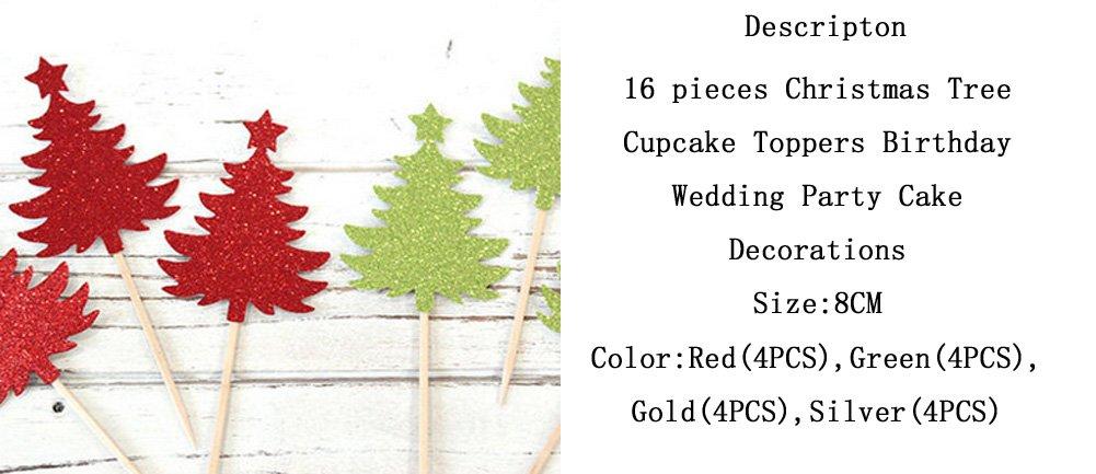 16 piezas Árbol de Navidad adornos de Cupcake sombreros a Cilindro de cumpleaños fiesta de bodas: Amazon.es: Hogar