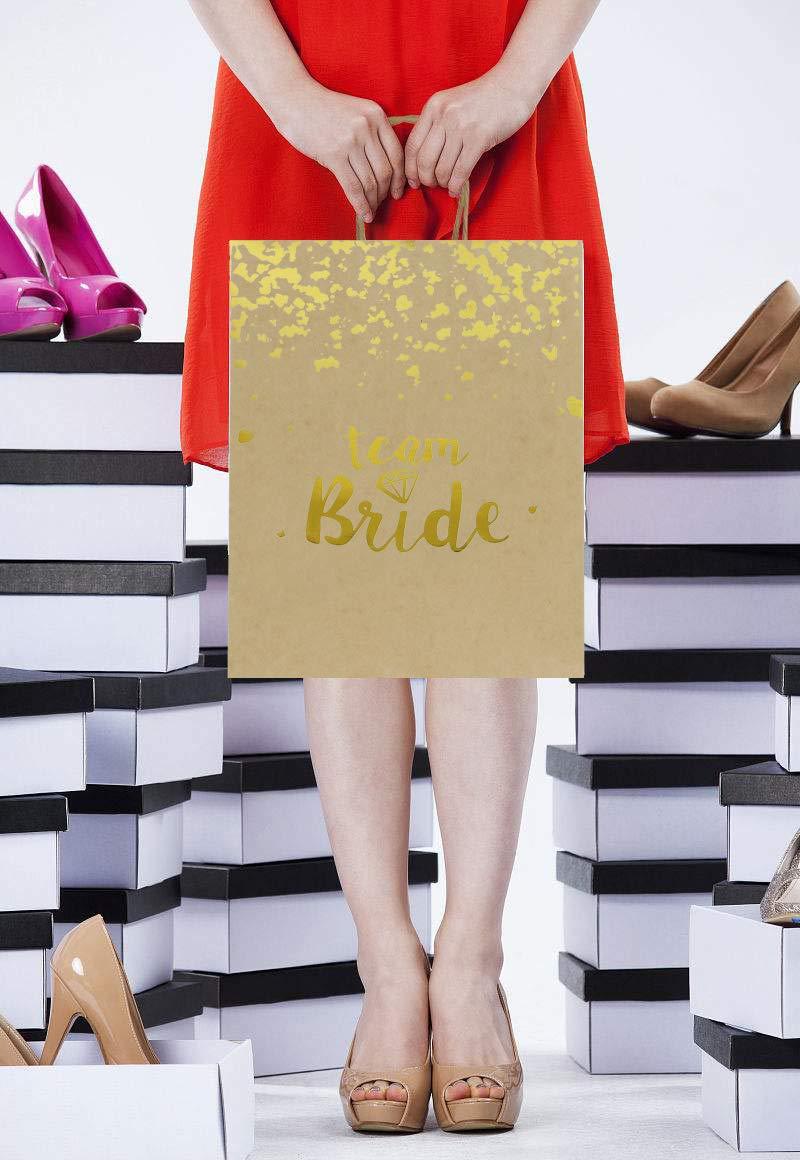 bomboniera Matrimonio Loveinside Medium Kraft Gift Bags-Team Sposa Lamina doro Sacchetto di Carta Regalo Marrone con Carta velina Damigelle regalo-12Pack -20.5 X10.2 X 25.5CM