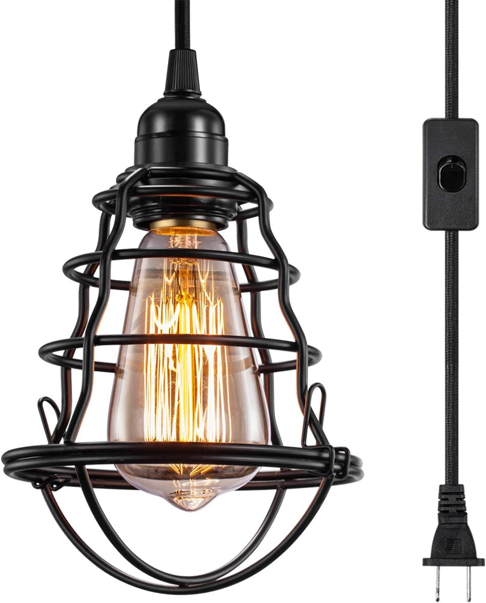INNOCCY Industrial Plug in Pendant Light Vintage Hanging Cage Pendant Lighting E26 E27 Mini Pendant Light Edison Plug in Light Fixture On Off Switch