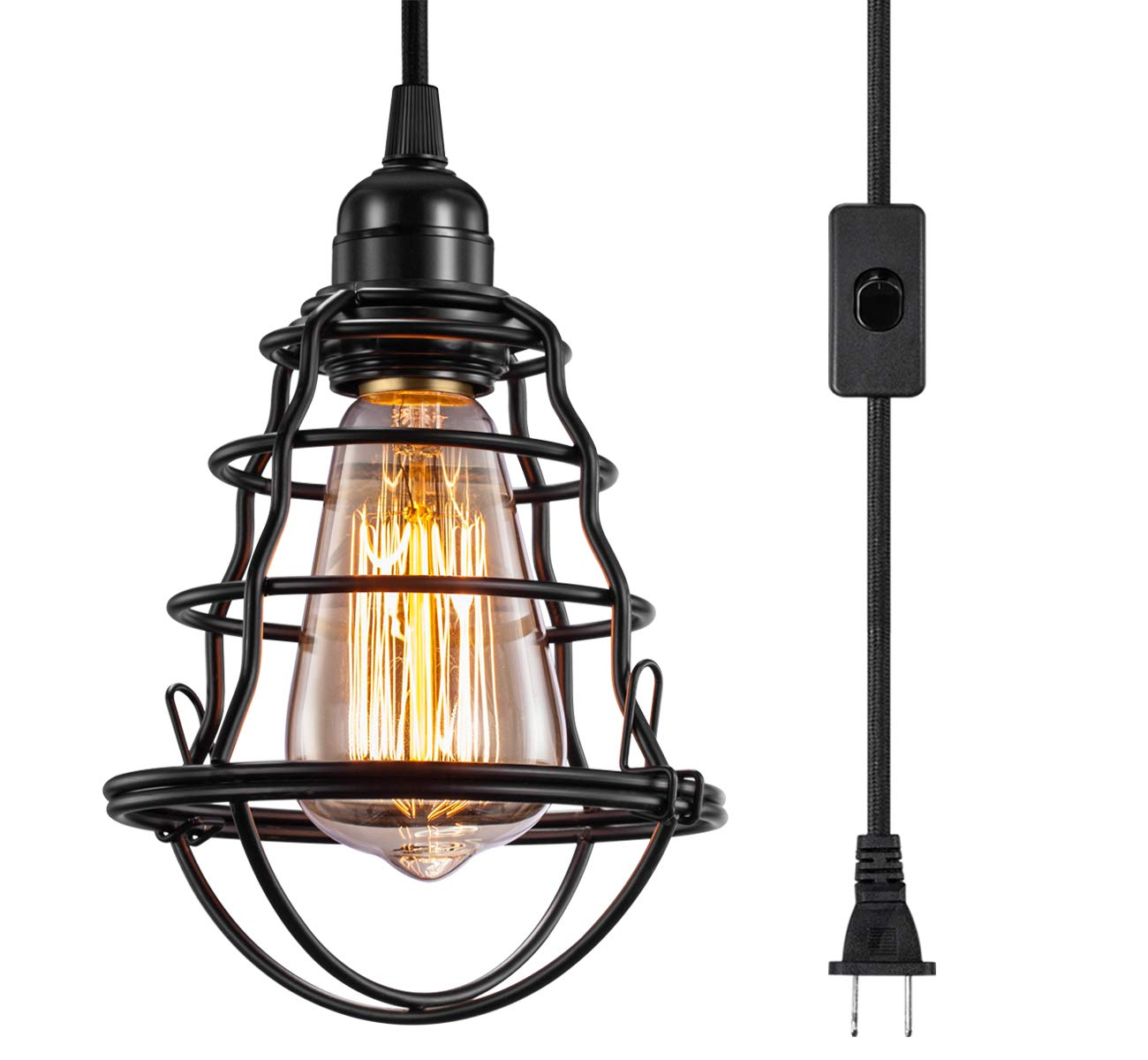Amazon com innoccy industrial plug in pendant light vintage hanging