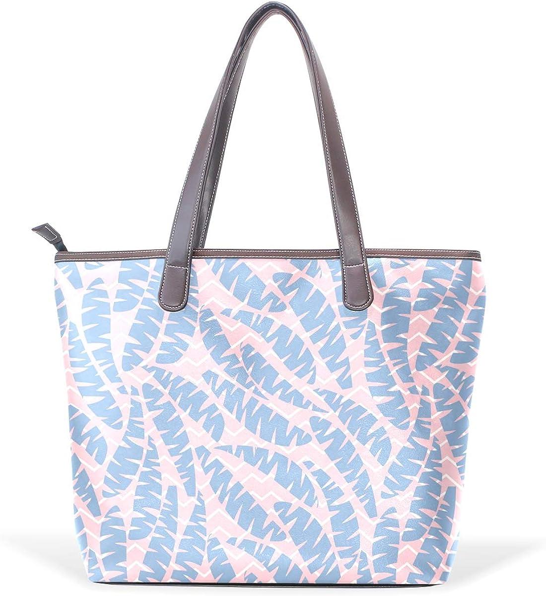 Pug Tropical Leaves Shirt Bag Womens Leather Handbag Shoulder Bag Satchel Handbags Leather Tote Purse Women Handle Handbags