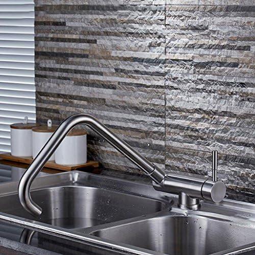 キッチン蛇口近代的なミニマリスト304ステンレス鋼の蛇口熱と冷たい野菜流域のシンクの蛇口折りたたみ式回転水の蛇口