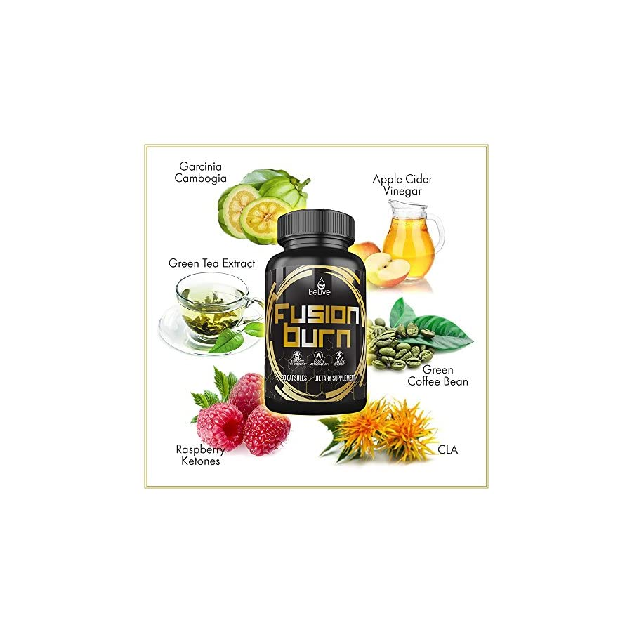 Fusion Burn Apple Cider Vinegar Weight Loss Pills for Women and Men Garcinia Cambogia, Green Tea Extract, Raspberry Ketones, CLA All in One Fat Burner Supplement 60 Veggie Caps