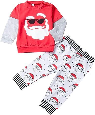 Haokaini niños Navidad Tops Rojos Camisa Pantalones Conjunto niños Pijamas de Manga Larga Traje de Ropa de casa para niños pequeños: Amazon.es: Ropa y accesorios