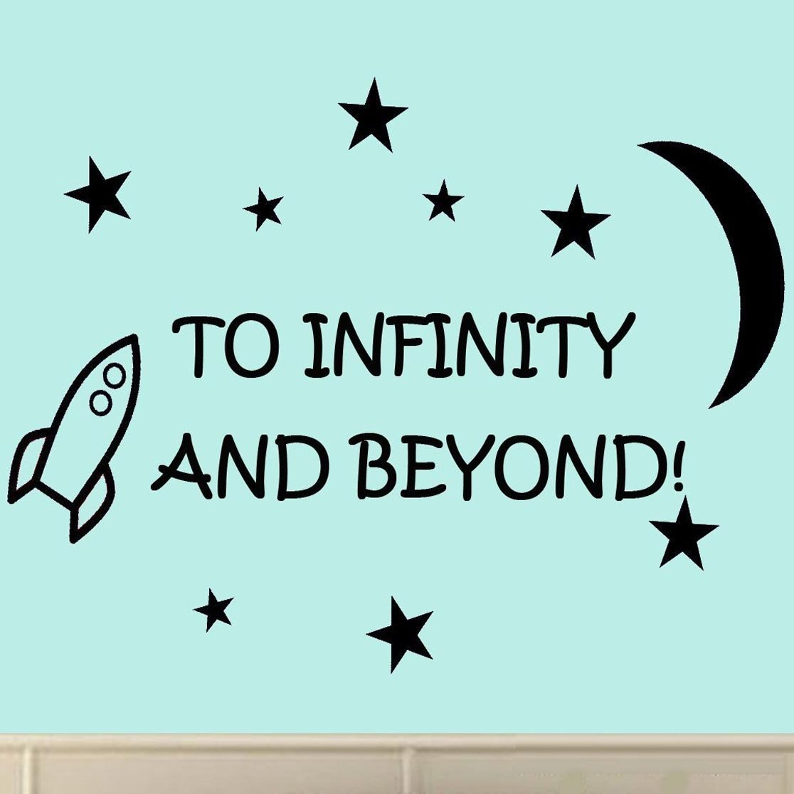 amazon com to infinity and beyond vinyl wall decals quotes kids amazon com to infinity and beyond vinyl wall decals quotes kids room wall quote nursery wall decals boys room home kitchen
