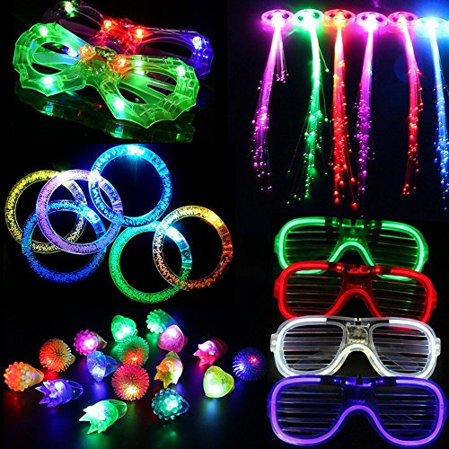 LACGO 30 Pcs LED Spotlight Flashing Party Supplies Toy Set. Including 12 LED Flash Bumps, 6 LED Bubble Bracelets, 6 LED Glasses and 6 LED Fiber Optic Hair/Perfect for Party, Wedding, Birthday Party -