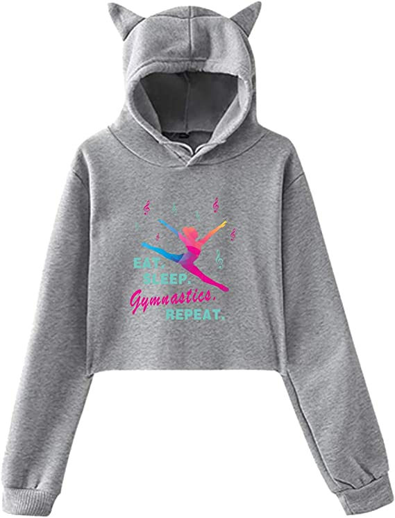 Thankful Grateful Blessed Cute Cat Ear Cropped Sweatshirts Hoody for Women Teen Girls