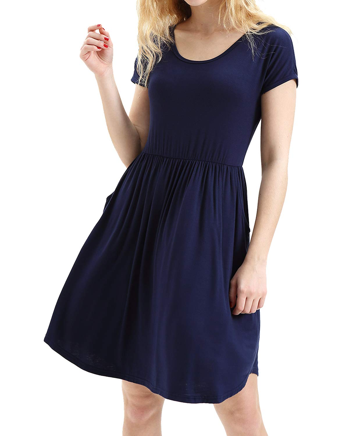 deesdail Dress Shirts for Women Business Casual, Ladies Scoop Neck Short Sleeve Midi Dresses Knee Length Comfy Long Tunic with Pockets Navy Blue L
