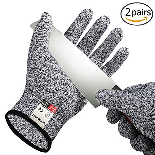 2 Pairs Cut Resistant Gloves, LKY DIGITAL High Performance Level 5 Protection Cut Proof Gloves, Food Grade Kitchen Glove for Hand Safety while Cutting, Cooking, doing Yard (Cut Protection)