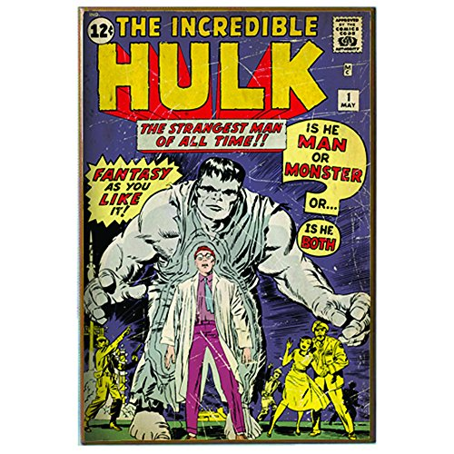 Silver Buffalo MV8036 Marvel Wood Wall Art Plaque Hulk Comic Book, 13 x 19 inches ()