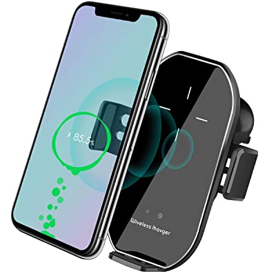 Wireless Car Charger Vent Mount, Automatic Clamping 10W/7.5W Fast Charging Air Vent for Car Compatible iPhone 11/11 Pro/11 Pro Max/Xs MAX/XS/XR/X/8/8+,Samsung S10/S10+/S9/S9+/S8/LG V30 (Silver)