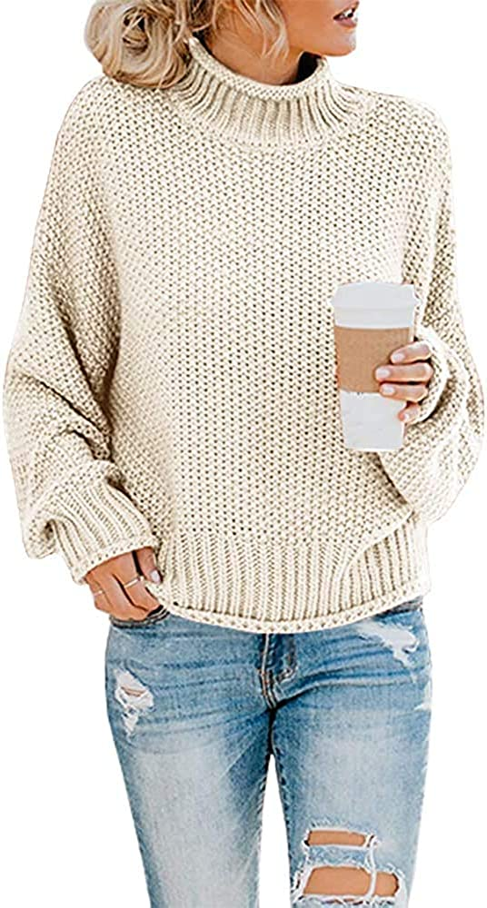Naggoo Womens Casual Turtleneck Sweaters Batwing Long Sleeve Pullover Loose Chunky Knit Jumper