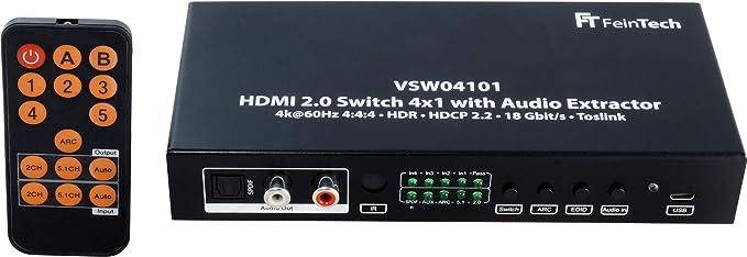 Feintech Vsw04101 Hdmi 2 0 Switch 4 Auf 1 Umschalter Elektronik
