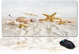 """Seashells Desk Pad, Office Desk Mat 35""""×15"""" Large Gaming Mouse Pad Durable Extended Computer Mouse Pad with Non-Slip Rubber Base for Office Home Starfish Conch On The Sand Beach Travel"""