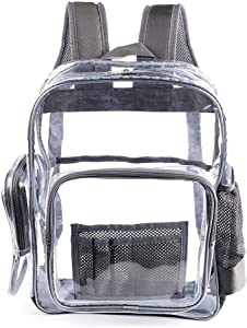 "Heavy Duty Clear Backpack with Laptop Compartment,See Through PVC Clear Plastic Bookbags for Students for School, Work,Stadium,Security, Concert,College(16""Gray)"