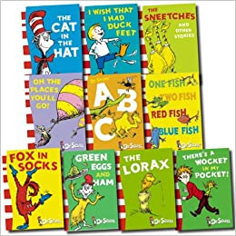 ba54e143 Dr Seuss Collection 10 Books Set (Cat in the hat, Green eggs and ham, Oh,  the places you'll go!, Fox in socks, One fish, two fish, red fish, blue  fish, ...
