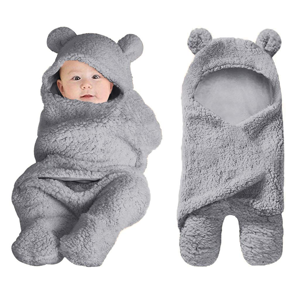 XMWEALTHY Cute Baby Items Newborn Plush Nersery Swaddle Blankets Soft Infant Girls Clothes Grey