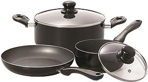 Starfrit 033059-002-0000 Simplicity 5-Piece Cookware Set with Bakelite Handles, Black