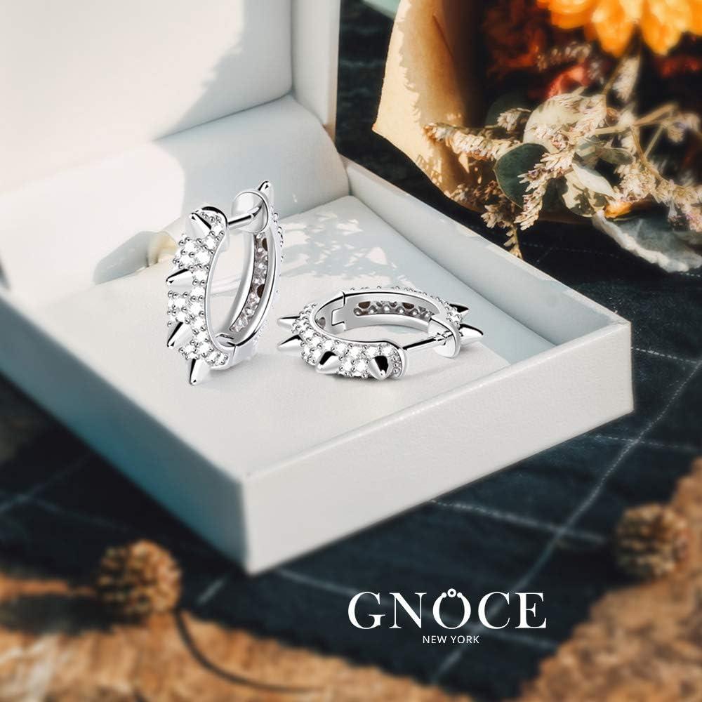 """GNOCE""""ROCK & ROLL"""" Earrings Hoop 925 Sterling Silver Mohawk Punk Style Black Cuff Earrings with Cubic Zirconia Fashion Jewelry Gift for Women Men 2silver"""