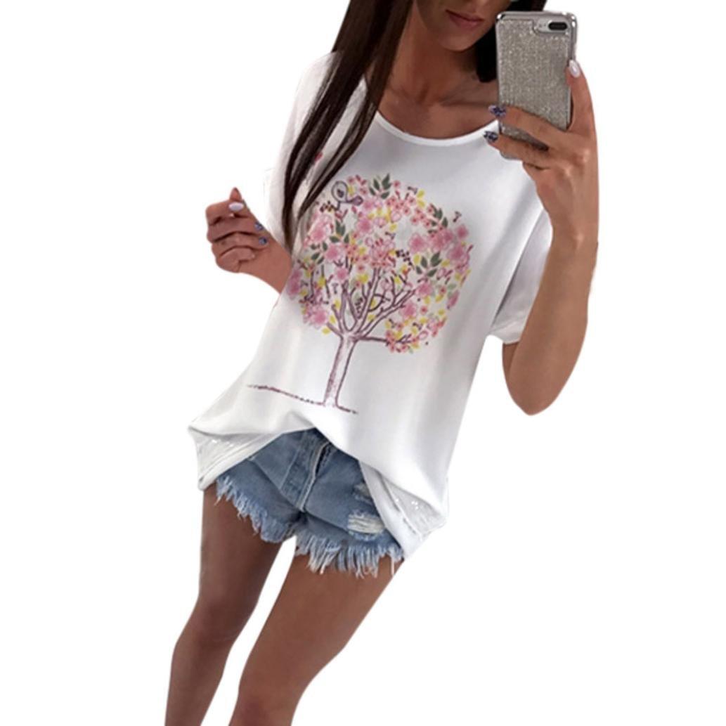 Amlaiworld Damen Mode Bunt Blumen Bäume drucekn t-Shirt Sommer Locker Tops Gemütlich Casual Pulli Frühling Lässig Oberteile Mädchen Sport Blusen
