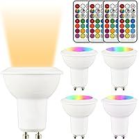 LightAurora Ampoule LED GU10 MR16 LED Dimmable 3W,ampoule de changement de couleur avec télécommande,12 couleurs RGB + lumière blanche chaude, Double mémoire et contrôle d'interrupteur mural (Lot de 4)