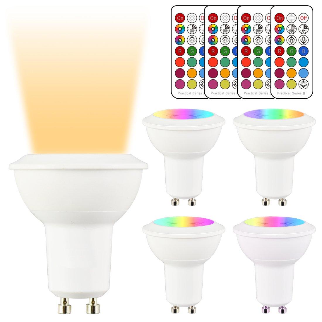 LightAurora Ampoule LED GU10 MR16 LED Dimmable 3W,ampoule de changement de couleur avec té lé commande,12 couleurs RGB + lumiè re blanche chaude, Double mé moire et contrô le d'interrupteur mural (Lot de 4)