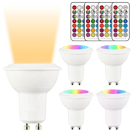 LightAurora Bombillas LED, GU10, 3 W, regulables, cambio de color, bombilla