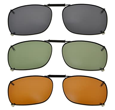 dbc410251db Eyekepper Grey Brown G15 Lens 3-pack Clip-on Polarized Sunglasses 54x38MM