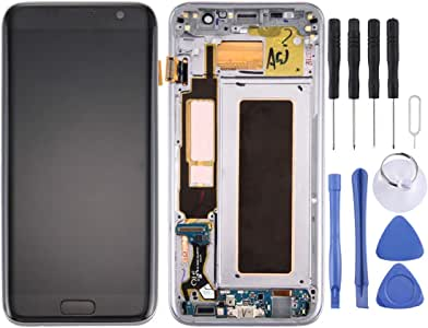 ZHUXH LCD Screen and Digitizer Full Assembly with Frame & Charging Port Board & Volume Button & Power Button for Galaxy S7 Edge / G9350(Black) GUOHUI (Color : Black)