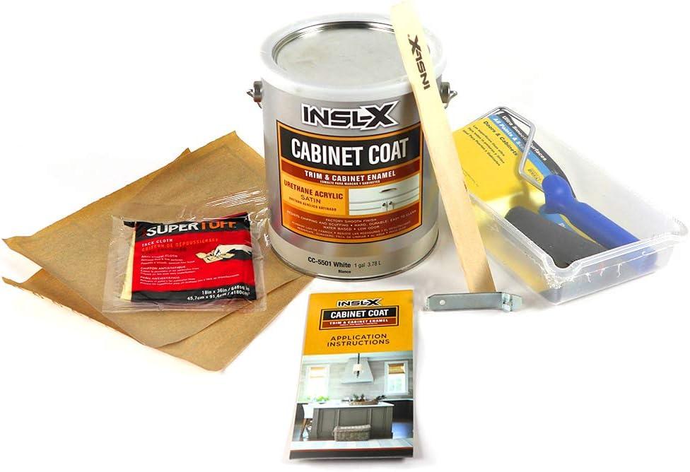 INSL-X CC5501099-1K Cabinet Coat Enamel, Satin Sheen Paint, 1 Gallon Kit, White