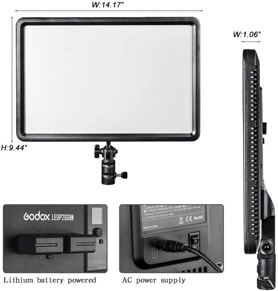Sony Samsung and Olympus Digital SLR Cameras Nikon Panasonic Pentax Godox LEDP-260C Lithium Battery-Powered Video Light Portable Dimmable Remote Control RC-A5 260 LED Video Light for Canon