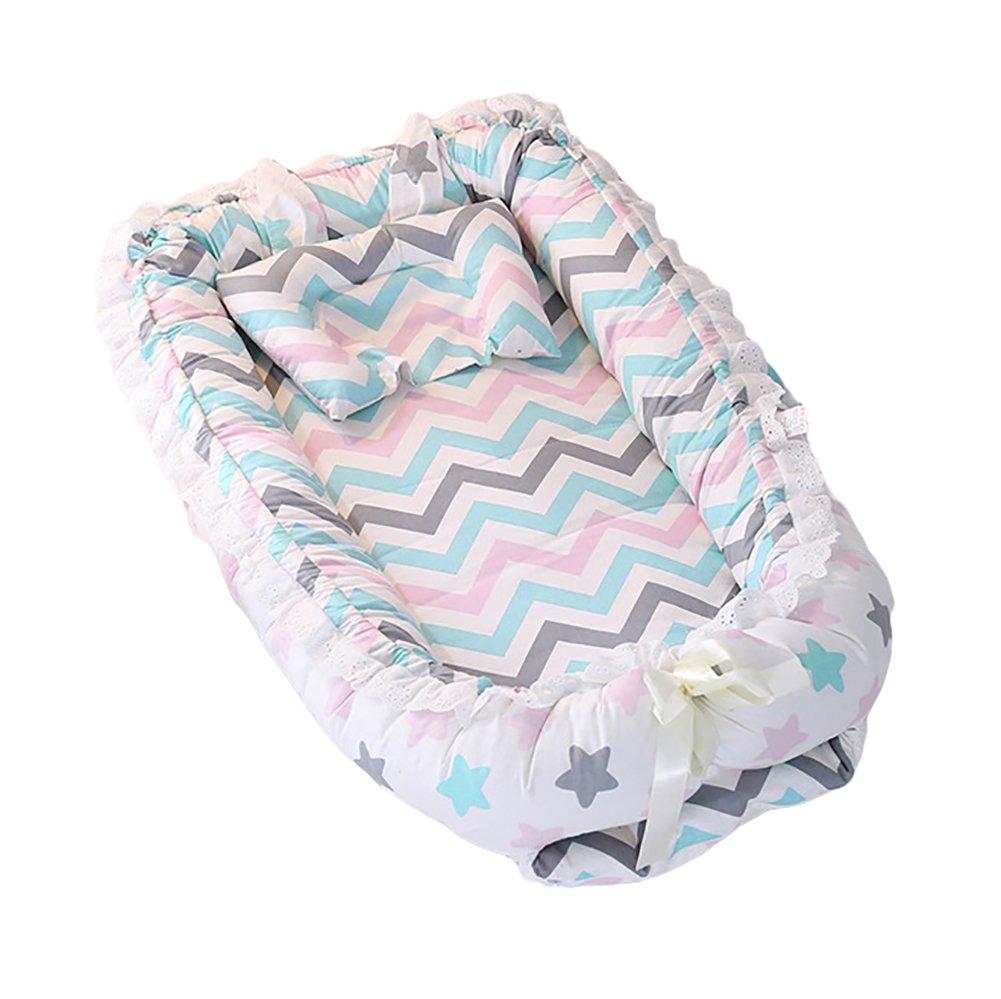 ETbotu Baby Detachable Mattress Baby Nest Newborn Babynest Sleep Bed Colorful Star Sky 905515CM