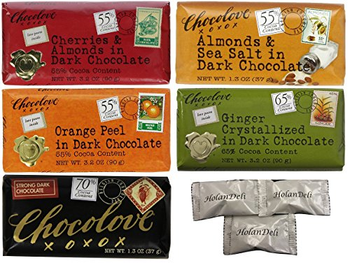 (Pack of 5 ) Chocolove Chocolate Variety Pack.(Cherries and Almonds, Almond and Sea Salt, Orange Peel, Ginger Crystallized, Strong in Dark Chocolate ) 3.2oz. Includes HolanDeli Chocolate (Australian Crystallized Ginger)