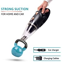 MEG Handheld Car Vacuum Cordless, Rechargeable,106W Lithium Battery, Small&Lightweight, Vacuum Cleaner, Strong Aluminum Fan, Powerful Portable Vacuum&2 Adapter Charging Cables for Home&Car Cleaning