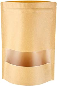 Emoly Upgraded 50 Pcs Stand Up Kraft Paper Bag, Reusable Zip Lock Sealing with Notch Matte Transparent Window Bags, All Purpose Storing Food Storage (5.5