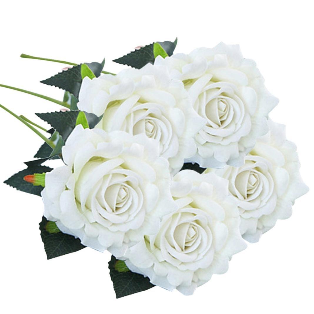 Schön Unechte Blumen, Sonnena 5 Stück Gefälschte Blumen Rosen Seide Kunstblume Bridal Bouquet Hochzeit Blumenstrauß Party Garten Blumen-Bouquet Hortensie Dekoration Wohnaccessoires (A) Schön Unechte Blumen