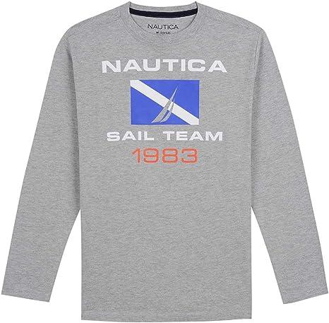 Nautica Boys Long Sleeve Crew Neck Rib Logo Tee