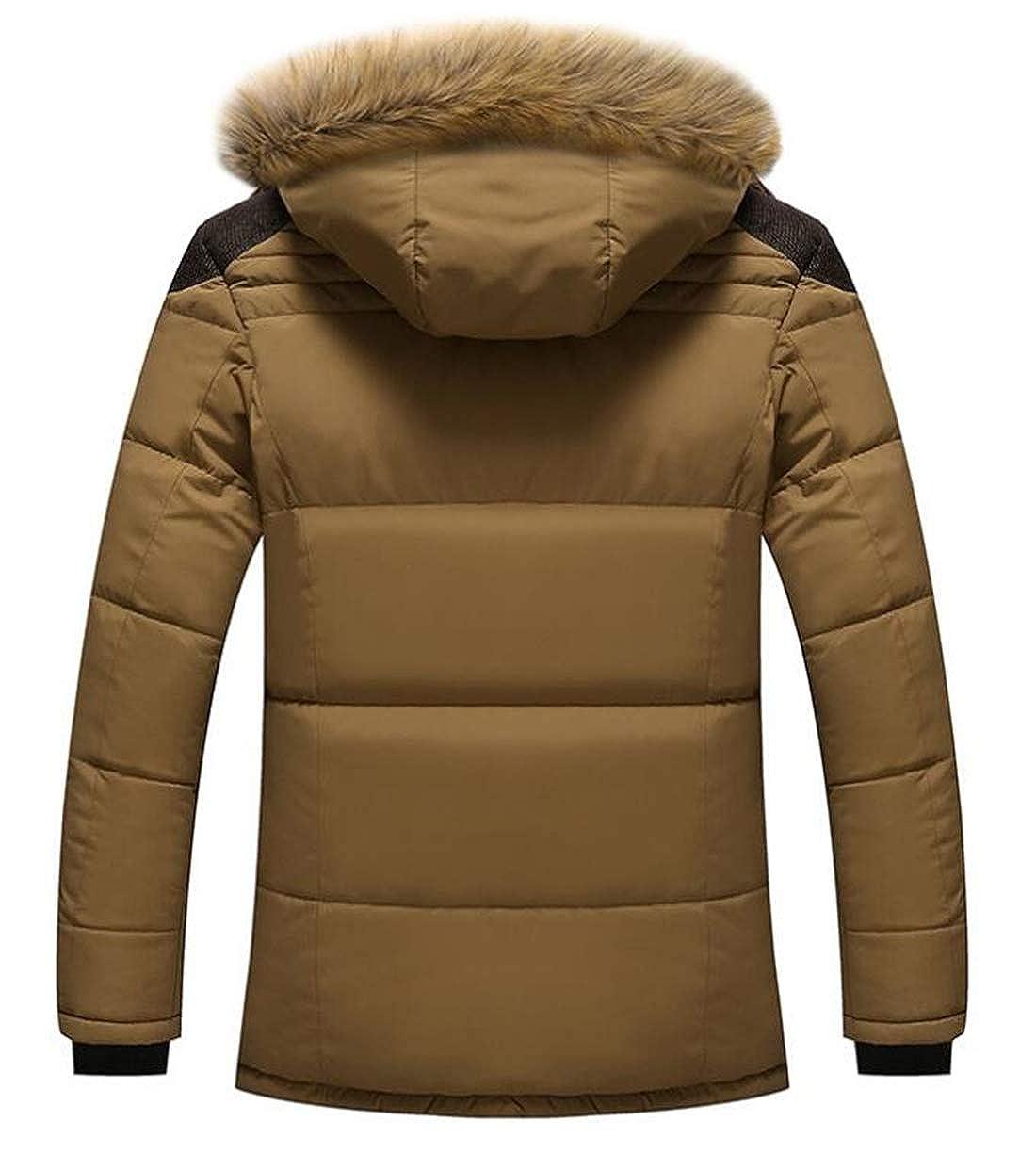 Domple Men Hooded Thicken Warm Faux Fur Collar Winter Fleece Lined Down Puffer Jacket