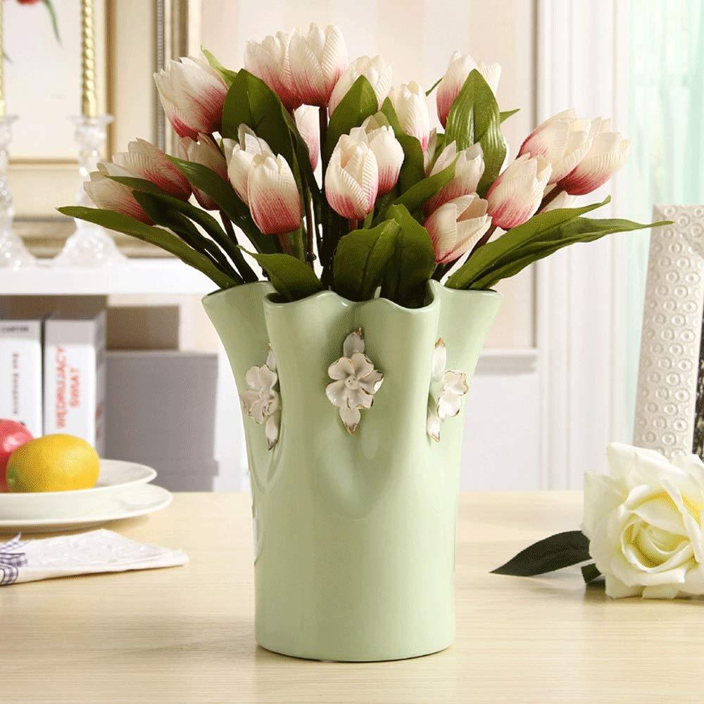 花瓶、セラミックシンプルフラワー花瓶クリエイティブリビングルームテレビキャビネット装飾装飾工芸品結婚式ドライフラワー装飾品(グリーン) B07RGWK4DB