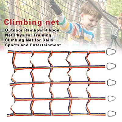 signmeili Ninja Climbing Net, Playground Climbing Net Nylon Rainbow Climbing Frame Net Warrior Cargo Net Indoor/Outdoor Treehouse Kids Playing wondeful: Sports & Outdoors