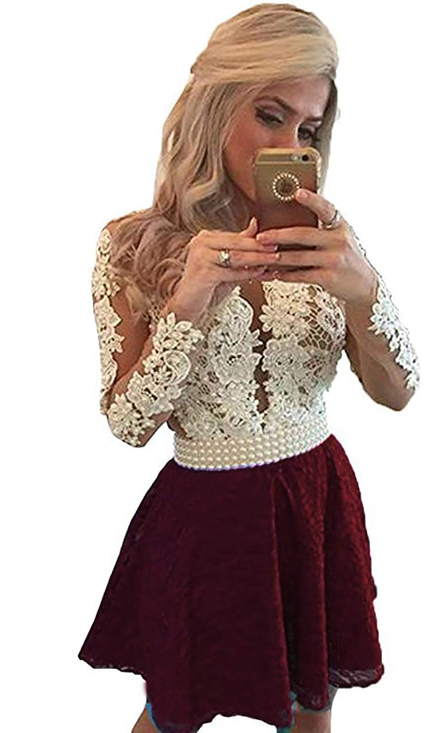 Burgundy Ri Yun Womens Prom Dresses Long Sleeve Lace 2018 Illusions Back Pearl VNeck Formal Evening Ball Gowns