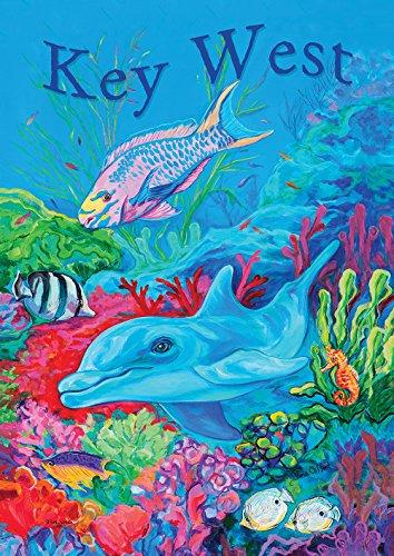 Toland Home Garden Undersea Dolphin & Friends Key West 12.5 x 18 Inch Decorative Regional Ocean Florida Garden ()