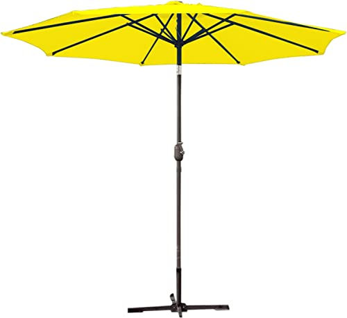 Jeco UBP95-UBF93 Aluminum Patio Market Umbrella Tilt with Crank Fabric Grey Pole, 9 , Yellow