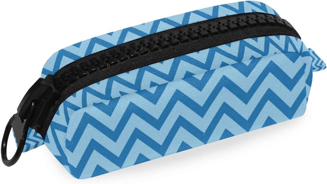 Estuche de lona azul con diseño geométrico de Chevrons para lápices, para estudiantes, papelería, con cremallera, para la escuela, oficina, niño, niña, adulto: Amazon.es: Oficina y papelería
