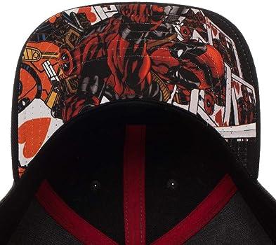 Gorra con logo de Deadpool de Marvel con visera precurvada: Amazon ...